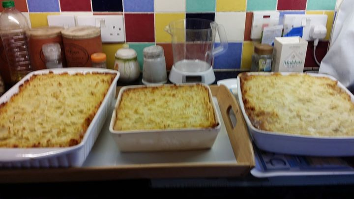 Cottage pies made with our Longhorn mince ready to go for the monthly munch in Aston Ingham Village Hall today