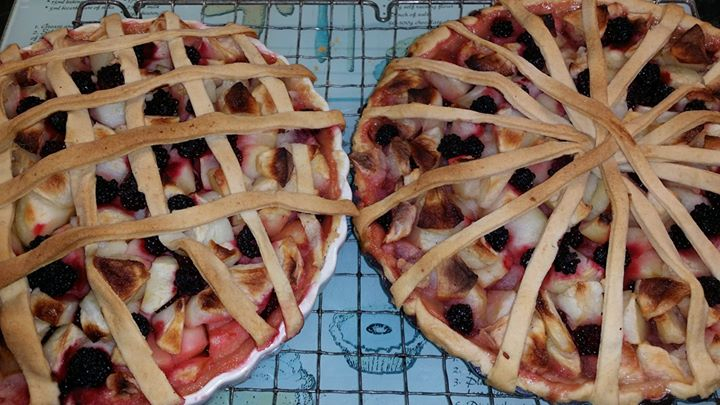 Home grown blackberry and apple pies ready for Harvest Festival tomorrow